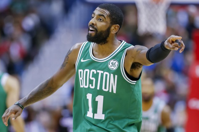 Boston Celtics guard Kyrie Irving lit up the Indiana Pacers for 37 points in a playoff victory Wednesday at TD Garden in Boston. Photo by Erik S. Lesser/EPA-EFE