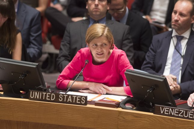 Samantha Power, United States Permanent Representative to the UN, addresses the Council at the United Nations in New York on July 8, 2015. Powers called for all states to support strong and swift action, as a leaked report by the Organization for the Prohibition of Chemical Weapons blamed the Syrian government for a 2015 chemical weapons attack on Qmenas in the north-west province of Idlib on March 16, 2015. The attack was one of three blamed on Syria in 2015 after pledging to destroy their chemical weapons upon joining the 1997 Chemical Weapons Convention in 2013. File Photo by Eskinder Debebe/UN