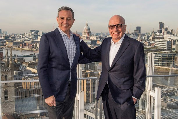Fox owner Rupert Murdoch (R) announced Fox's new bid to acquire Sky Wednesday. He is shown with Walt Disney Co. chief executive Bob Iger. Photo by The Walt Disney Company/EPA-EFE