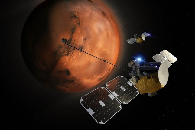 An illustration depicts two Photon spacecraft approaching Mars for the ESCAPADE mission planned for 2024. Photo courtesy of Rocket Lab