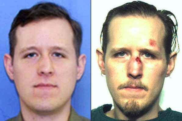 Eric Matthew Frein, seen in the photo from his wanted poster (L) and his police mugshot, is facing the death penalty in the trial in which he is charged with killing a police officer and wounding another. A civilian police dispatcher delivered testimony on Tuesday describing the 2014 shooting. Photo courtesy of FBI/Pennsylvania State police