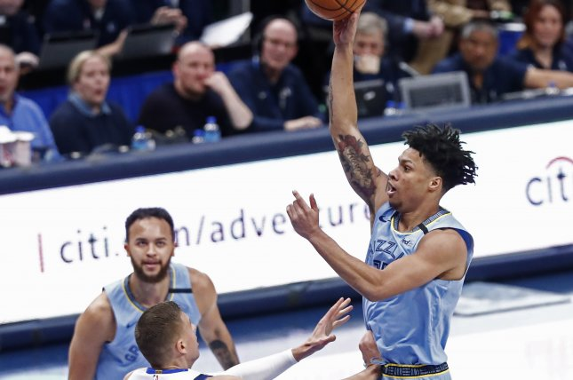 Memphis Grizzlies forward Brandon Clarke (R) has averaged 12 points and 5.8 rebounds per game in his rookie season. Photo by Larry W. Smith/EPA-EFE