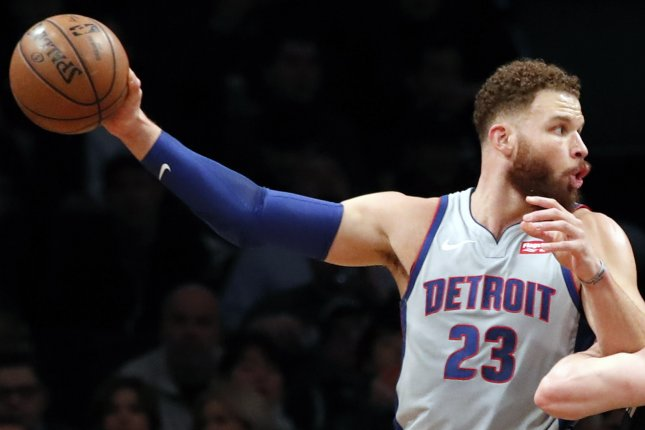 Detroit Pistons forward Blake Griffin sparked a late 17-0 run to help his team knock off the Los Angeles Lakers on Thursday in Detroit. Photo by Jason Szenes/EPA-EFE