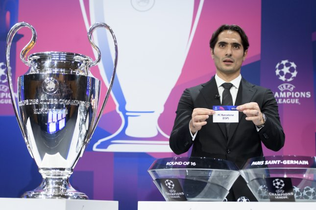 Turkish soccer player Hamit Altintop drew FC Barcelona's Champions League matchup against Napoli during the round of 16 draw Monday in Nyon, Switzerland. Photo by Laurent Gillieron/EPA-EFE