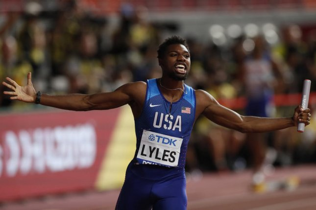 U.S. runner Noah Lyles, seen here at the IAAF World Athletics Championships 2019 in Qatar, was briefly thought to have broken Usain Bolt's record for the 200-meter race Thursday during the Inspiration Games. File Photo by Valdrin Xhemaj/EPA-EFE