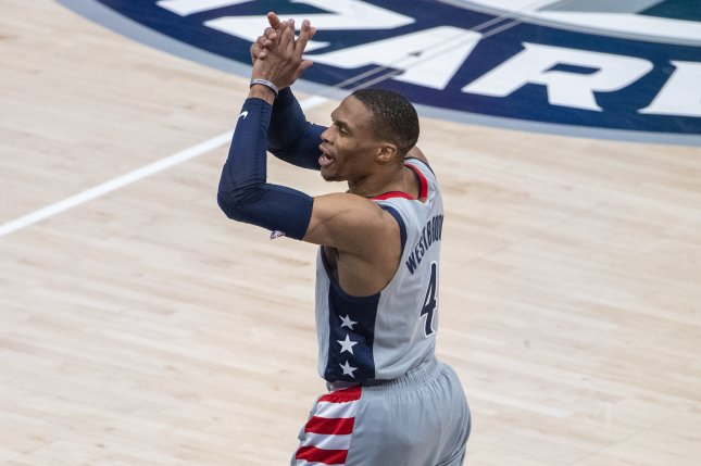 Washington Wizards guard Russell Westbrook, shown May 20, 2021, averaged 22.2 points, 11.7 assists and 11.5 rebounds per game this past season. It was the fourth time in his NBA career that he averaged a triple-double in a single season. File Photo by Shawn Thew/EPA-EFE