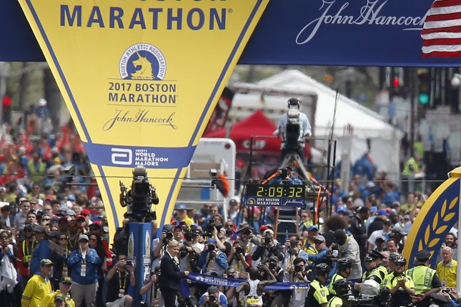 Geoffrey Kirui of Kenya runs to win the Mens Division of the 121st Boston Marathon on Monday in Boston, Mass. Photo by Herb Swanson/EPA