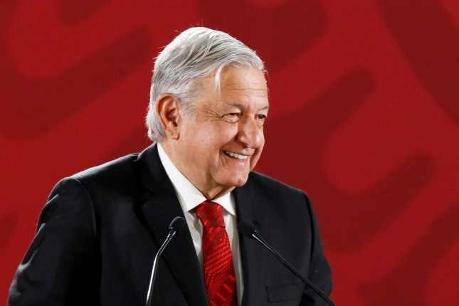 Mexican President Andres Manuel Lopez Obrador, shown in a press conference at the National Palace in Mexico City on March 2019, will visit the White House in July. Photo by Jose Mendez/EPA-EFE