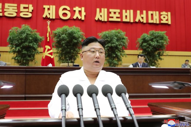 North Korean leader Kim Jong Un presides over the opening of the sixth Conference of Cell Secretaries of the Workers' Party of Korea in Pyongyang, North Korea, on April 6. Photo courtesy of KCNA/EPA-EFE