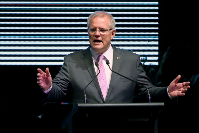 Australian Prime Minister Scott Morrison said Australia will not host U.S. missiles. Photo by David Moir/pool photo/EPA-EFE