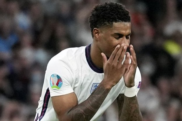 Marcus Rashford was one of several England soccer players targeted by racists messages on social media after he missed a penalty kick during a loss to Italy in the postponed UEFA Euro 2020 Final on Sunday in London. Photo by Frank Augstein/EPA-EFE