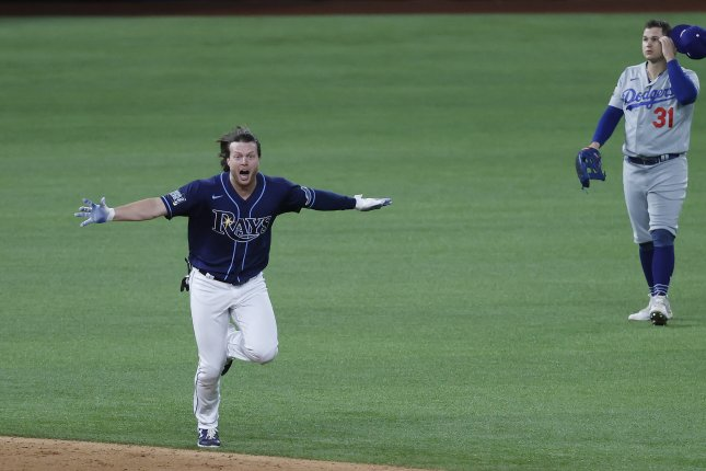 The Tampa Bay Rays' Brett Phillips (L) and Los Angeles Dodgers left fielder Joc Pederson (R) react after Phillips' game-winning hit in the ninth inning of World Series Game 4 on Saturday night at Globe Life Field in Arlington, Texas. Photo by John G. Mabanglo/EPA-EFE