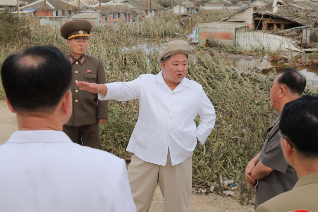 North Korean leader Kim Jong (C) toured the coastal areas of North and South Hamgyong provinces in September after typhoons caused destruction across the country. File Photo by KCNA/EPA-EFE