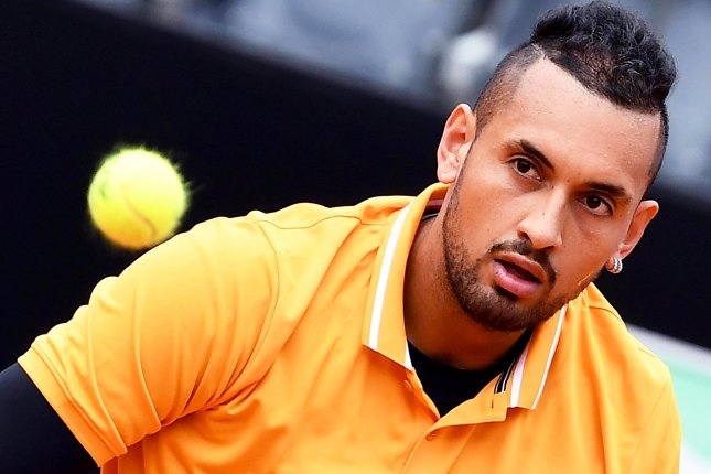 Nick Kyrgios of Australia was disqualified during his round of 32 match against Casper Ruud at the 2019 Italian Open on Thursday in Rome. Photo by Ettore Ferrari/EPA-EFE