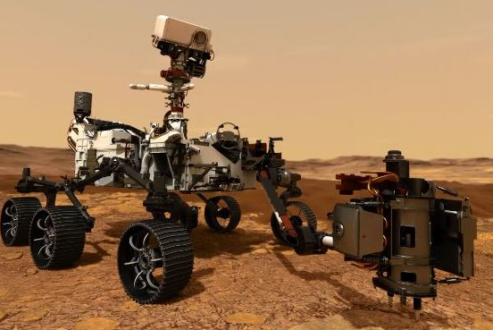 Among the many instruments on NASA's Mars rover Perseverance, shown in an illustration, are two microphones that could send back the first sounds recorded on another planet. Image courtesy of NASA