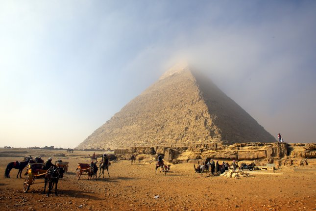Climbing the Giza Pyramids is illegal according to Egyptian law. File Photo by Khaled Elfiqi/EPA-EFE