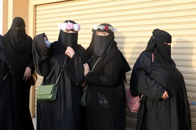 Saudi women with full face veils are seen near Riyadh, Saudi Arabia. File Photo by Amel Pain/EPA-EFE