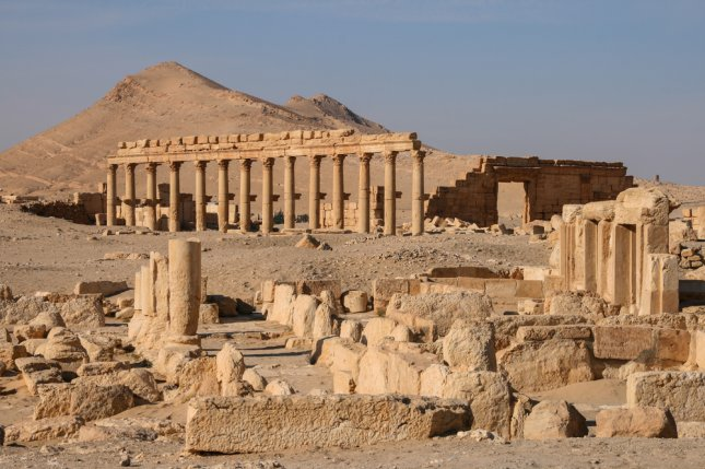 The new video appears to have been filmed in the historic Syrian city of Palmyra (pictured), which is noted for its ancient Roman-style architecture. Officials say Islamic State militants have occupied the city for weeks and have destroyed many priceless artifacts there. Photo by Linda Marie Caldwell/UPI