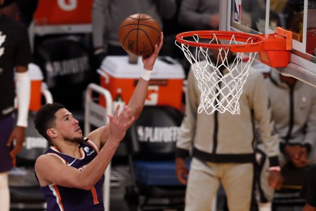 Phoenix Suns guard Devin Booker, shown May 27, 2021, scored 34 points during the Suns' Game 4 win over the Denver Nuggets on Sunday. File Photo by Etienne Laurent/EPA-EFE