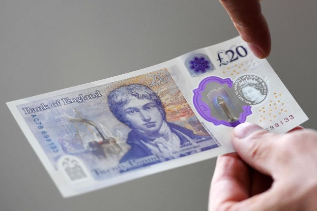 The new £20 note displays JMW Turner's famous self-portrait. File Photo by Andy Rain/EPA-EFE