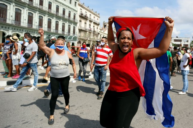 North Korean state media accused the United States of causing anti-government protests in Cuba last month. File photo by Ernesto Mastrascusa/EPA-EFE