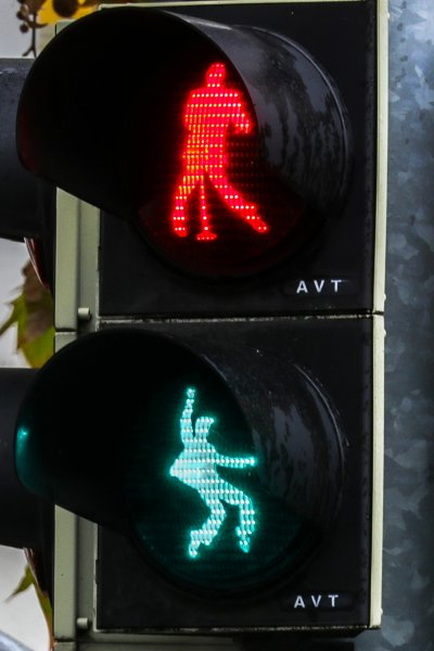 A traffic light features a shape of rock and roll legend Elvis Presley in Friedberg, Germany, Dec. 7, 2018. The city installed three Elvis traffic lights. Presley served as a soldier of the U.S. Army in Friedberg from October 1958 to March 1960. Photo by Armando Babani/EPA-EFE