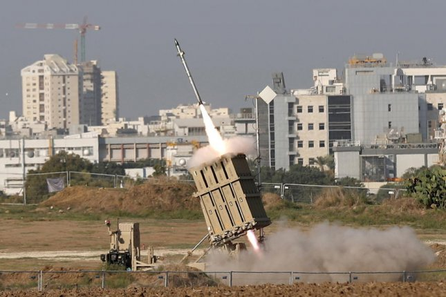 This is a view on Nov. 12, 2019, of an Iron dome missile system intercepting rockets reportedly fired from Gaza into Israel, near the city of Ashdod, Israel. On Sunday, Hamas reportedly fired two rockets, activating incoming rocket sirens in Ashdod and other Israeli cities. Israeli Air Force jets, attack helicopters and Israel Defense Forces tanks targeted underground infrastructure and military posts of the terror group Hamas in the Gaza Strip, the military said in a statement. File Photo by Atef Safadi/EPA-EFE