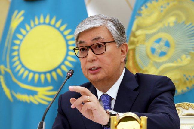 Kazakhstan President Kassym-Zhomart Tokayev, shown here in June, participated in the recent Commonwealth Security Treaty Organization summit with Russian President Vladimir Putin in Bishkek. File Photo by Igor Kovalenko/EPA-EFE