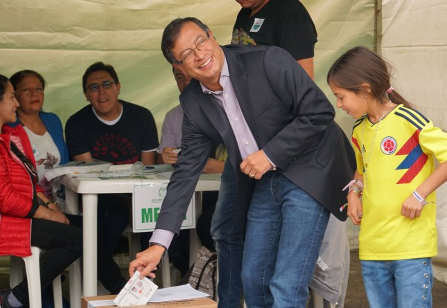 Presidential candidate Gustavo Petro votes in the first round of a presidential election in Bogota, Colombia, on May 27. The next round is set for June 17. Photo by Mauricio Riveros/EPA-EFE