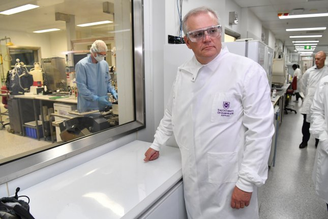 Australian Prime Minister Scott Morrison visits the University of Queensland's vaccine lab in Brisbane, Australia, on October 12. File Photo by Darren England/EPA-EFE