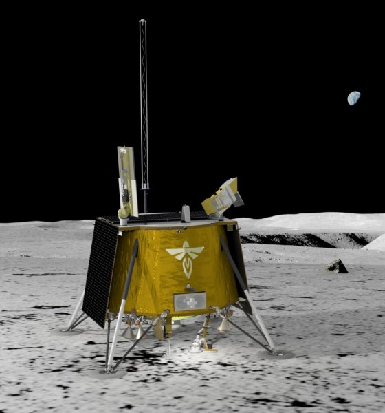 An illustration shows the Blue Ghost lunar lander on the surface of the moon, which is a mission planned in 2023. Image courtesy Firefly Aerospace