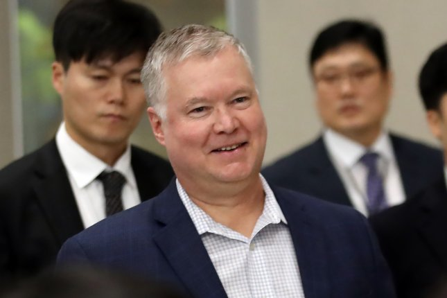 Stephen Biegun, the U.S. special representative for North Korea, arrives at the second passenger terminal at Incheon International Airport in South Korea, as part of a three-day to the natgion. Photo by Yonhap News Agency/EPA-EFE