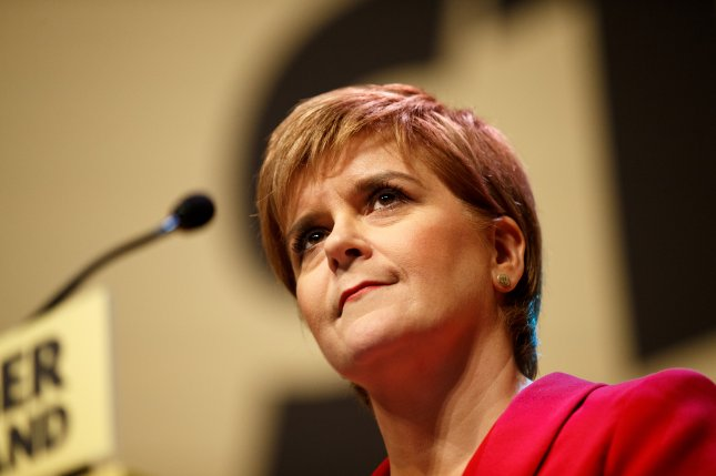 Scotland's First Minister Nicola Sturgeon speaks during the launch of the party's election manifesto in Perth on May 30. On Tuesday, Sturegon said she has put plans on hold for a second referendum on independence from Great Britain. Photo by Robert Perry/EPA