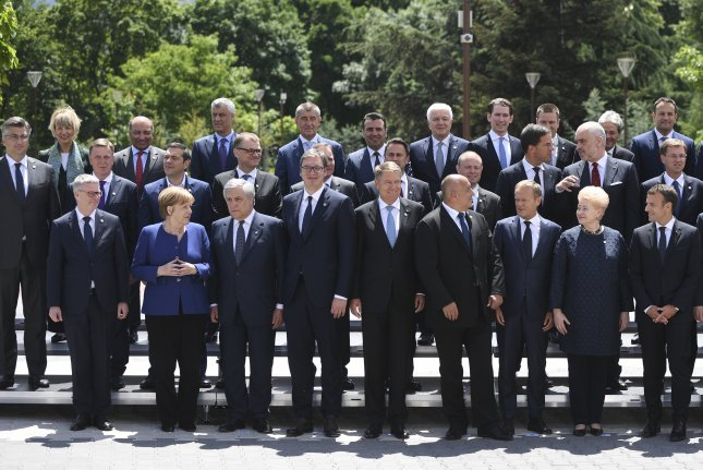 European Union leaders pose for a photograph at the Sofia, Bulgaria, summit meeting on Thursday. The summit produced a hardened line against the United States in the face of threatened U.S. tariffs, as well as its withdrawal from the Iran nuclear deal. Photo by Vassil Donev/EPA