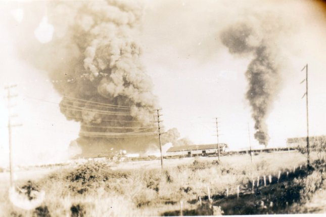 Smoke is seen from a distance from the Texas City, Texas, blast on April 16, 1947, that left nearly 600 people dead. File Photo by Judge Alfred S. Gerson/Wikimedia