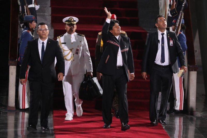Bolivian President Evo Morales (C) attends a ceremony on January 10 inaugurating Venezuelan President Nicolas Maduro in Caracas, Venezuela. File Photo by Miguel Gutierrez/EPA-EFE