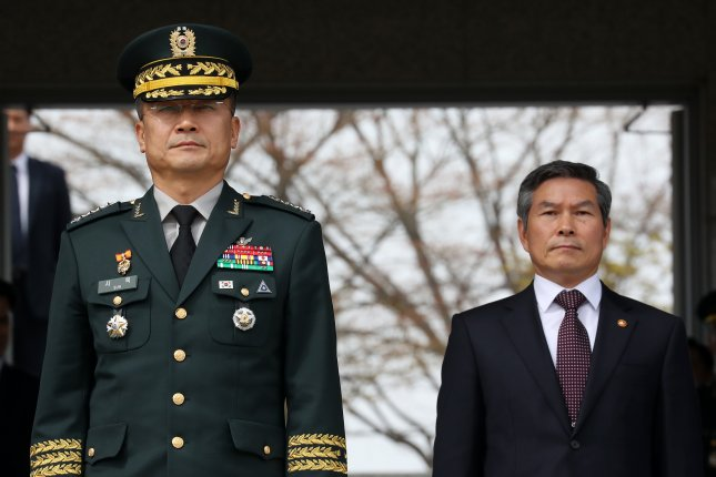 Army Chief of Staff Gen. Suh Wook (L) said Monday an intelligence-sharing agreement with Japan provides an institutional foundation for the exchange of information within a framework of trilateral cooperation. File Photo by Yonhap/EPA-EFE