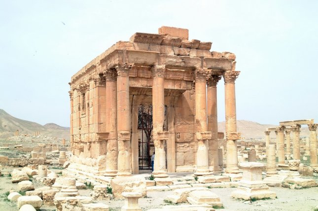 The ancient temple of Baal Shamin, or Lord of the Heavens, in Palmyra, Syria, before it was destroyed by Islamic State militants in July 2015. On Oct. 27, 2015, activists reported IS militants executed three prisoners in Palmyra by tying them to columns and blowing them up. Photo: Syria's department of antiquities and museums