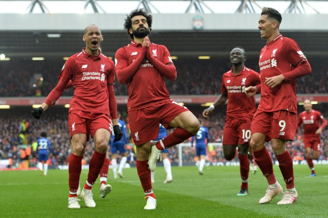 Mohamed Salah (C) and Liverpool could return to the field as early as June 1 after the Premier League season was suspended in March due to the coronavirus pandemic. Photo by Peter Powell/EPA-EFE