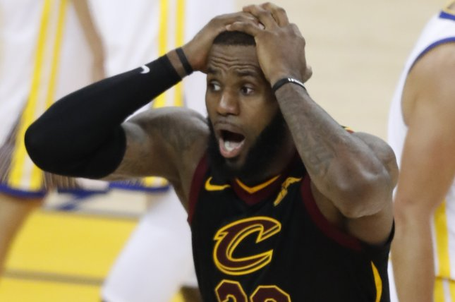 Cleveland Cavaliers star LeBron James reacts against the Golden State Warriors in the second half of Game 1 of the NBA Finals Thursday at Oracle Arena in Oakland. Photo by Monica Davey/EPA-EFE