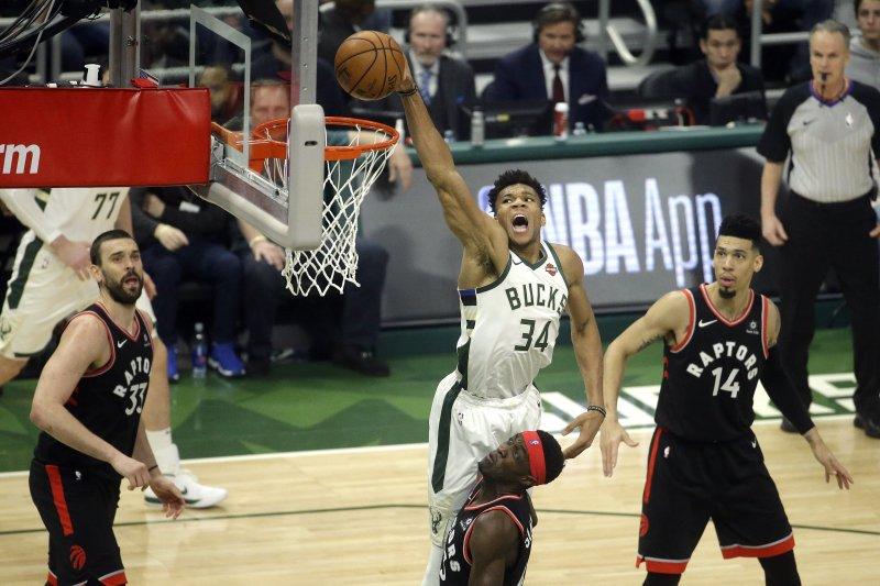 Milwaukee Bucks forward Giannis Antetokounmpo (34) won his first-ever NBA MVP Award on Monday night. File Photo by Aaron Gash/EPA-EFE