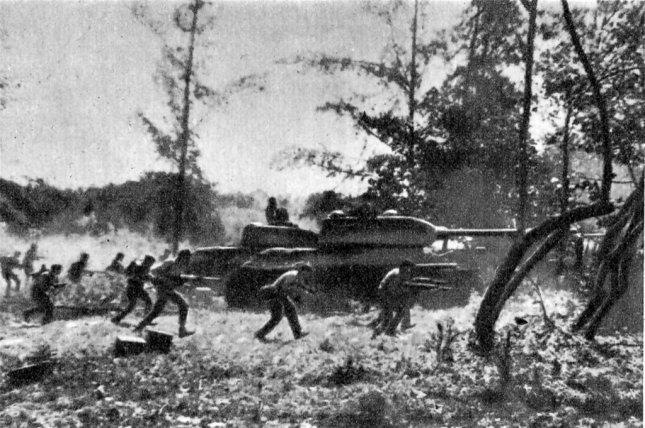Cuban Revolutionary Armed Forces supported by T-34 tanks counter-attack against Cuban exiles near Playa Giron during the Bay of Pigs invasion April 19, 1961. File Photo by Rumlin/Wikimedia