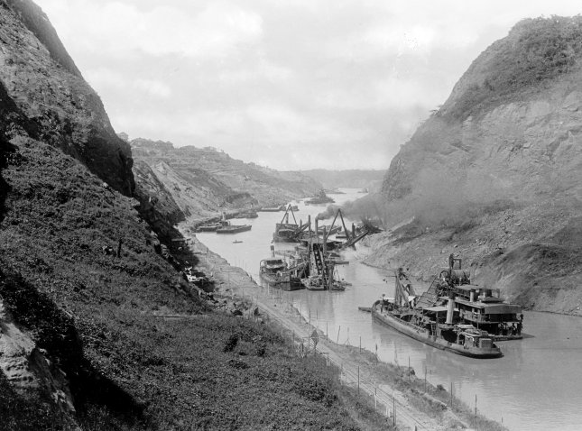 Construction of the Panama Canal, looking north at Gold Hill, from the Cucaracha Slide ca. 1912. File Photo by Library of Congress/UPI