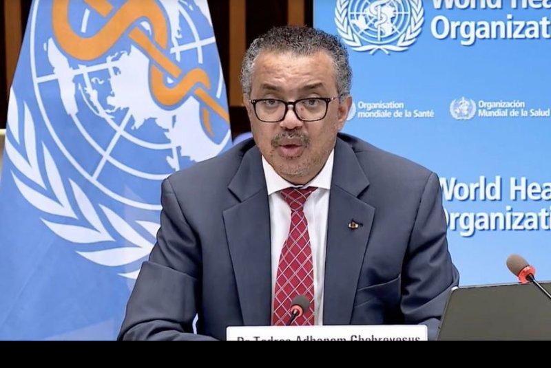 World Health Organization Director-General Tedros Adhanom Ghebreyesus called for a moratorium Wednesday on vaccine booster shots in wealthy nations. File Photo by World Health Organization/Twitter