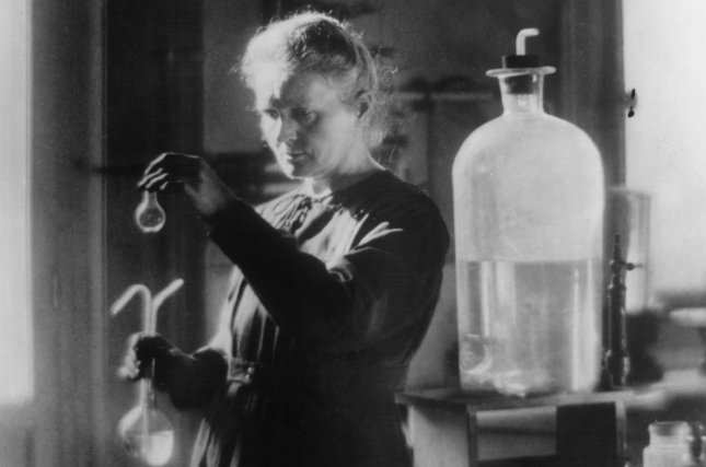 Marie Curie (Maria Sklodowska) in her chemistry lab at the Radium Institute of Paris in 1921. Curie was the first woman to win a Nobel Prize – she won it twice – jointly with her husband in 1903 and then on her own in 1911. Photo courtesy Curie Museum