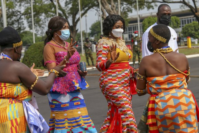 Masked guests are seen in Accra, Ghana, on January 7 at the official inauguration of President Nana Akufo-Addo. The African nation began to receive doses of a coronavirus vaccine from the global COVAX program. File Photo by Christian Thompson/EPA-EFE