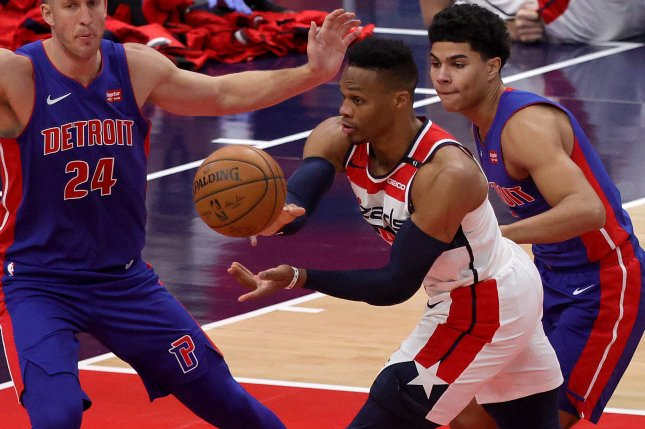 Washington Wizards guard Russell Westbrook (C) scored 19 points in a loss to the Houston Rockets on Tuesday in Houston. File Photo by Rob Carr/EPA-EFE