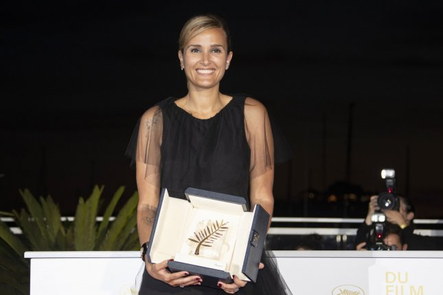 Director Julia Ducournau won the Palme d'Or, the top prize at the Cannes Film Festival, for her film 'Titane' on Saturday. File Photo by Andre Pain/EPA-EFE