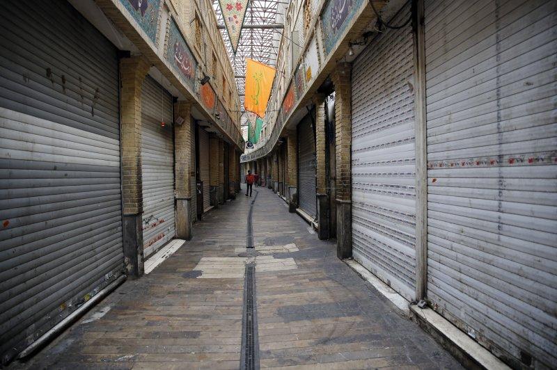 Shops are closed in Tajrish bazaar, in Tehran on Friday due to the pandemic. Photo by Abedin Taherkenareh/EPA-EFE
