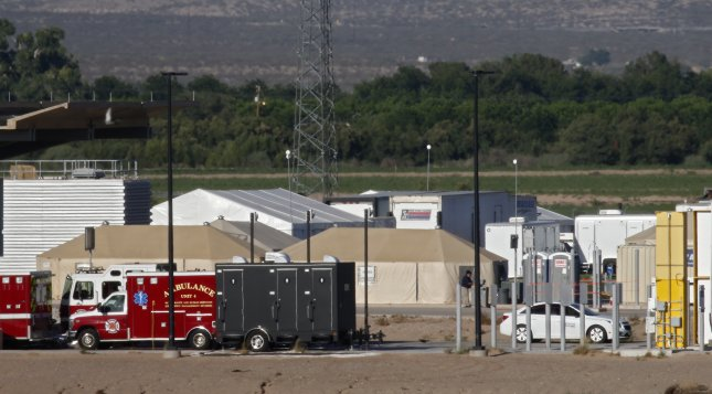 The Tornillo influx shelter is run by Baptist Children and Family Services at the Marcelino Serna Land Port of Entry in Tornillo, Texas. File Photo by Larry W. Smith/EPA-EFE